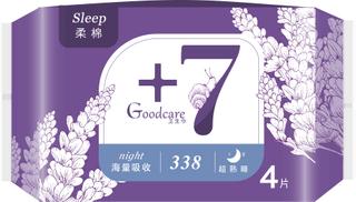 +7超熟睡柔棉夜用338mm卫生巾4片