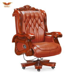 广东鸿业盛大办公家具 厂家直销 可躺实木扶手电脑椅大班椅真皮老板椅A-007