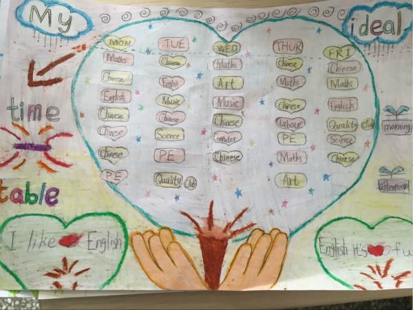 """四年级英语组举办&quotmyidealtimetale""""创意课程表比赛"""
