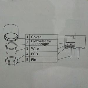他激式压电蜂鸣器的结构原理图                 焊接和安装时注意