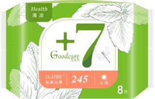 +7健康配方丝薄柔棉日用245mm卫生巾8片