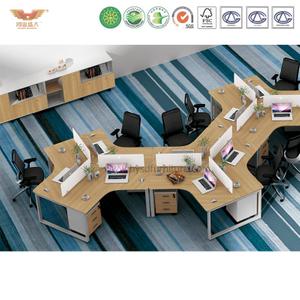 厂家直销 现代简约板式三人组合台 时尚职员办公桌 H90-0210