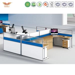 厂家直销 办公家具 四人位办公职员桌配折叠床 屏风职员办公桌 鸿业盛大 H15-0824