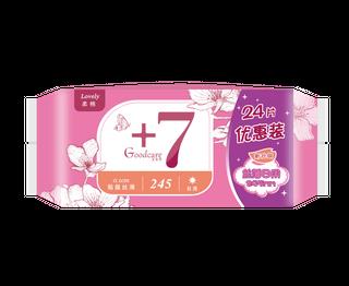 新+7丝薄柔棉日用245mm卫生巾24片