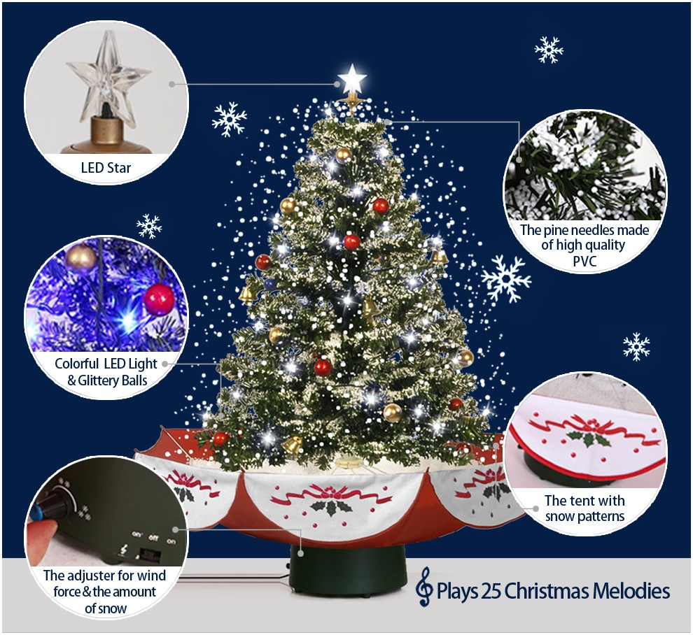 Snowing And Musical Christmas Tree: (18030U075-RS) Snowing Christmas Tree With Umbrella Base