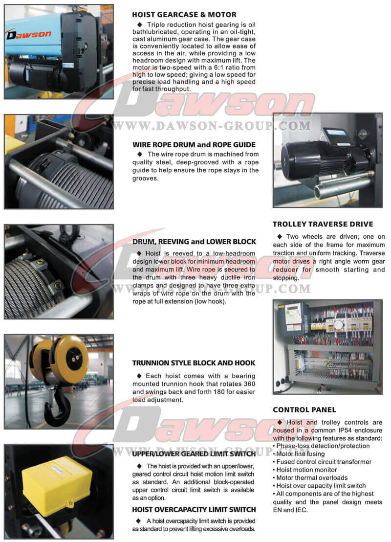 Single Girder Electric Hoist, electric wire rope hoist, wire rope ...