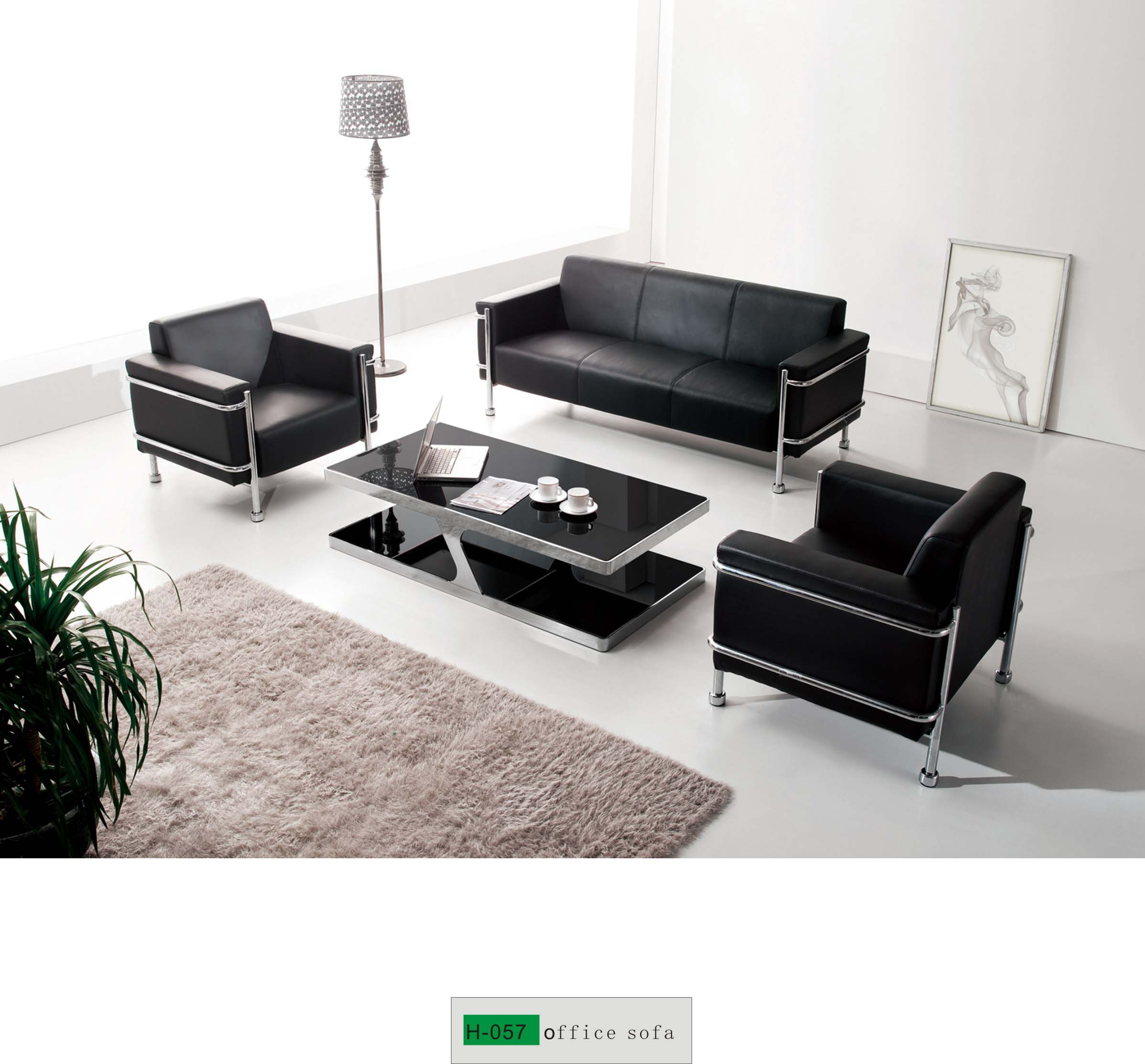 Modern Office Sofa H-057 - Buy black office sofa, commercial office ...